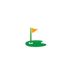 Golf landscape flag sport logo vector