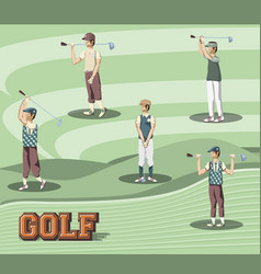 golf players in course vector image