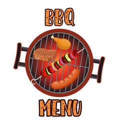 grill menu card design template vector image vector image