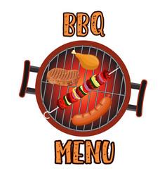 Grill menu card design template vector