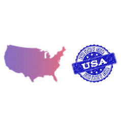 halftone gradient map of usa and grunge seal vector image