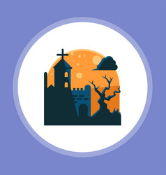 halloween graveyard icon sign symbol vector image