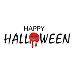 happy halloween text black scary cartoon design vector image