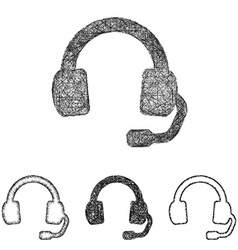 Headphone icon set - sketch line art vector image