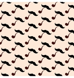 Hipster Mustache With Pipe Seamless Pattern vector image
