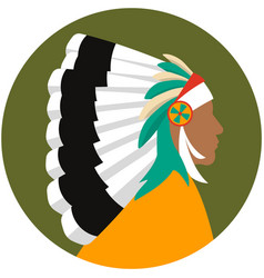 indian chief head profile isolated icon vector image