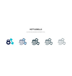 Kettlebells icon in different style two colored vector