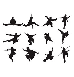 Kungfu warrior sword stick style silhouette asian vector