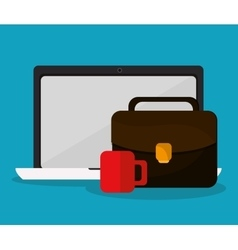 Laptop suitcase and Worktime design vector