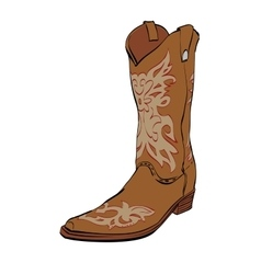 Leather cowboy boots vector