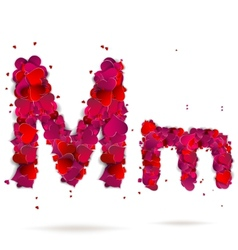 Letter m made from hearts Love alphabet vector