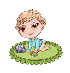Little blond boy plays and crawls on a childs vector