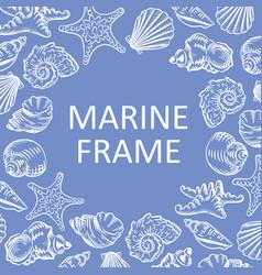 Marine frame seashells hand drawn sketch style vector
