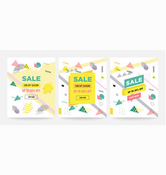 memphis style sale cards design collection vector image