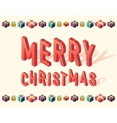 Merry Christmas gifts 3d lettering Isometric vector image