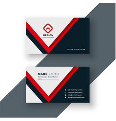 modern geometric red business card design vector image
