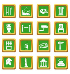 Museum icons set green vector