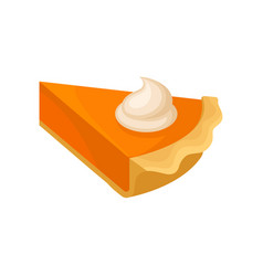 Piece of pumpkin pie traditional thanksgiving vector