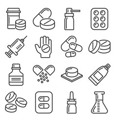 pills and capsules icons set on white background vector image