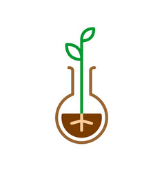 plant sprout in a flask line style symbol nature vector image