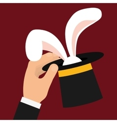 Rabbit inside hat icon circus and carnival design vector