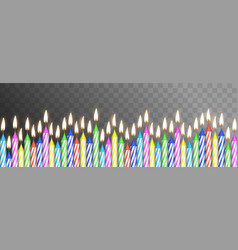 realistic detailed 3d birthday cake color candles vector image