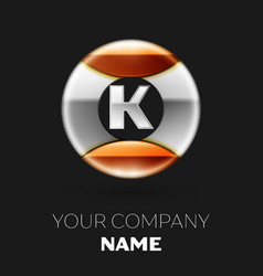 realistic silver letter k logo in the circle shape vector image