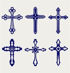 Religious cross design collection vector