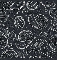 Seamless patterns with melon and watermelon vector