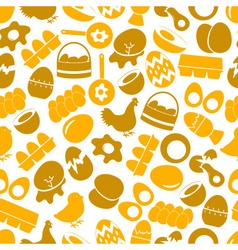set of egg theme yellow icons seamless pattern vector image