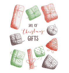 set of sketch christmas gifts vector image