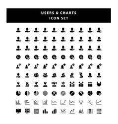 set users and charts icon with glyph style vector image
