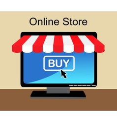 Shopping online in the computer vector