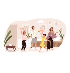 smiling family dancing having fun at home vector image