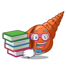 Student with book long shell mascot cartoon vector