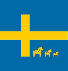swedish flag with dala horse simple design vector image