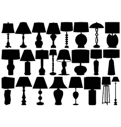 Table and floor lamps vector