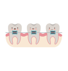 Teeth kawaii with braces in colorful silhouette vector