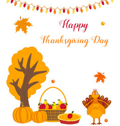 thanksgiving background with funny turkey vector image