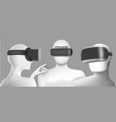 three men wearing virtual reality headsets vector image