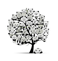 Tree with funny pandas sketch for your design vector