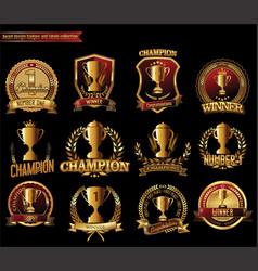 trophy retro golden badges collection vector image