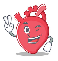 Two finger heart character cartoon style vector