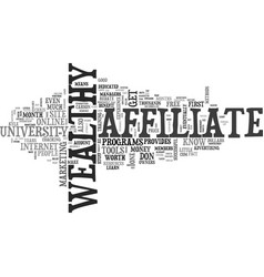 wealthy affiliate university for free text word vector image