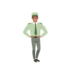 Young man in formal military clothes green shirt vector