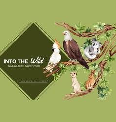 Zoo frame design with eagle rabbit meerkat vector