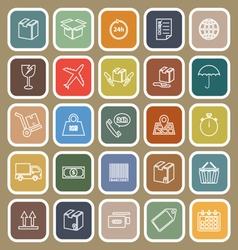 Shipping line flat icons on brown background vector image vector image