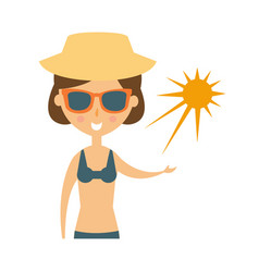 woman posing with sun on her palm in shades and vector image