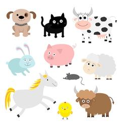 Farm animal set Dog cat cow rabbit pig ship mouse vector image