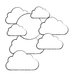 figure clouds covering the sun icon vector image vector image